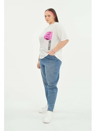 Luokk Scott Cep Detaylı Yuvarlak Yaka Kadın T-Shirt Beyaz